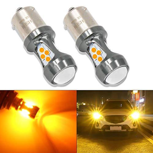 HSUN BAU15S PY21W 7507 1056 LED Lampadine,16LED SMD3030 3200LM Lampadine Estremamente Luminose con Canbus ad Alta Potenza per LED Auto Lndicatori di Direzione e Altro,2 Pacchi,Amb