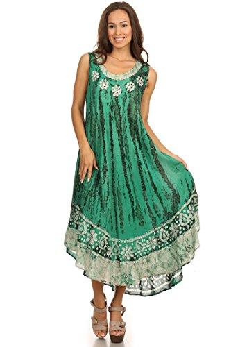 Sakkas caftan long / robe de plage Alexis brodée, sans manches, floral Vert de mer