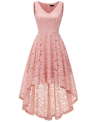 bridesmay Damen Hi-Lo Spitzenkleid Ärmellos Unregelmässig Vokuhila Kleid Cocktailkleid Brautjungfernkleider Blush L - Womens Cocktail-anzüge