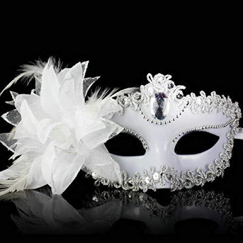 QTJKH Horror Maske Venezianische Maskerade Venezianische Maske Venedig Blume Hochzeitsfeier Performance Kostüm Lady Mask Masquerade @ - White Lady Horror Kostüm