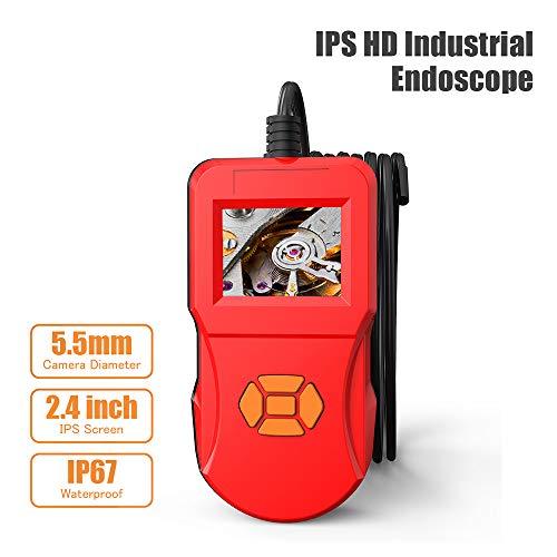OurLeeme Industrielles Endoskop, 5,5-mm-Inspektionskamera 2,4-Zoll-LCD-Bildschirm Hi-Vision 720P-Bildschirm IP67 wasserdichte Schlangenkamera Rot (5M) -