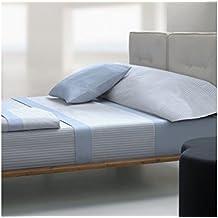 Tolrà TC027 - Juego de sabanas, 3 piezas, tacto coral estilo, cama 150 - 160 x 190 / 200cm, color azul
