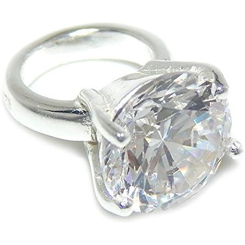 925plata esterlina Anillo de compromiso con piedra de cristal transparente para pulsera