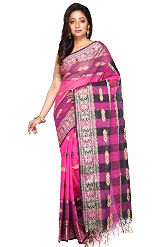 Badal Textile Pink & Black Handloom Cotton Tant Saree, Traditional Bengali Wear