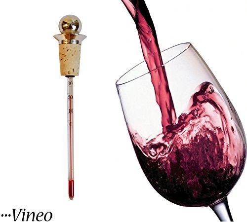 Weinthermometer aus Glas, Kork und Edelstahl als Weinverschluss - analoges Thermometer, ideal für Rot- und Weißwein, Sekt und Champagner