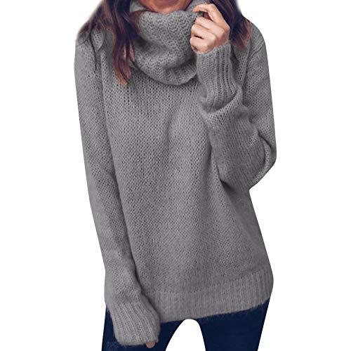 Pull Pas Cher A La Mode Femme Chaud Tunique Tricoté Col Roulé LâChe Solide Tops À Manches Longues Pullover Sweaters Blouse (XL(EU40), Noir)