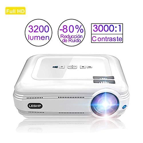 Vidéoprojecteur, LESHP Rétroprojecteur 1080P HD 3200 Lumens Projecteur LED Supporte VGA HDMI AV USB Micro SD, Ordinateur Portable, Smartphone, Projecteur pour Séries TV Jeux Video Photos Films