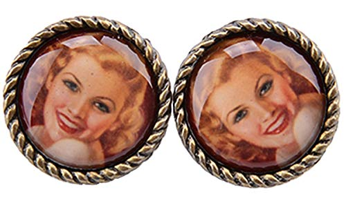 Unbekannt Damen Ohrstecker Vintage Pin Up Girl 50s Blondie Ohrringe (Altgoldfarben)