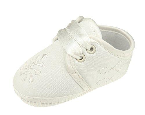 Baby Jungen Mädchen, ivory Lace bis Taufe Schuhe Beute Scroll Stickerei Gr. 56, elfenbeinfarben