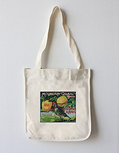 Mountain Quail Apple Crate Label (100% Cotton Tote bag - reusable) by Lantern Press