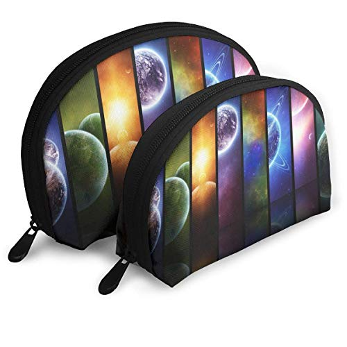 Pack of 2 Womens Shell Cosmetic Bags - Solar System Planets Art Travel Makeup Bag Toiletry Organizer Storage Bags