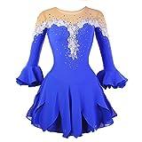 LINGXU Eiskunstlauf Kleid für Mädchen, Handarbeit Eislaufen Kleider Wettbewerb Kostüm Halbe Ärmeln Rollschuhkleid Strass Blau,10