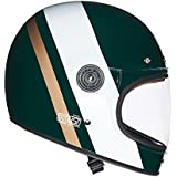 Royal Enfield HEAW17034 True Stripes Drifter Helmet (Green and White, Large)
