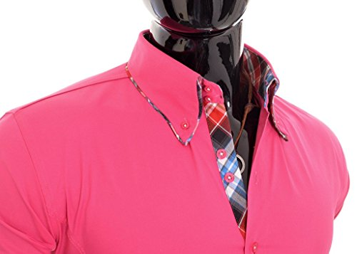 D&R Fashion Shirt smart con collo classico Slim Fit italiana design vari colori Rosa