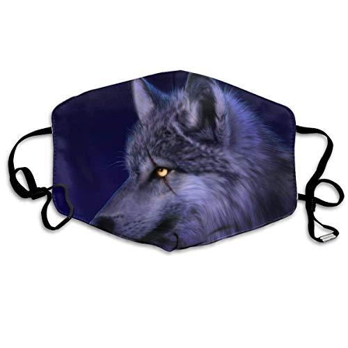 Galaxy Wolf Tier-Maske, Anti-Staub, Ohrschlaufe, für Frauen und Männer, Anti-Grippe, Pollen, Keime, Radfahren, Kaomoji Halbgesichtsmaske, Anti-Allergien Atemschutz