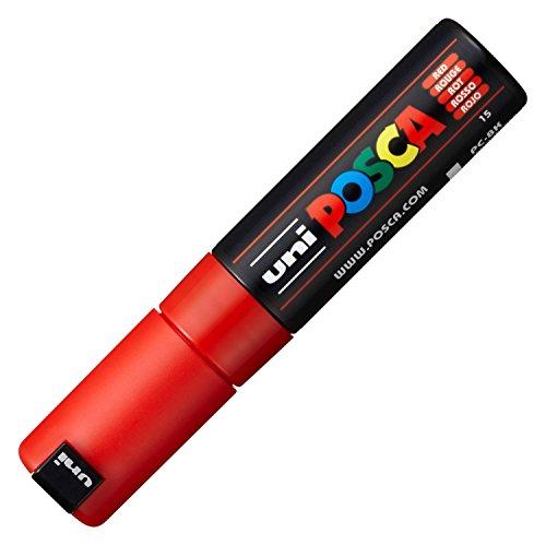 Uni-Ball M PC8K B Marcatore Uni Posca a Tempera, a Scalpello, 8 mm, Rosso