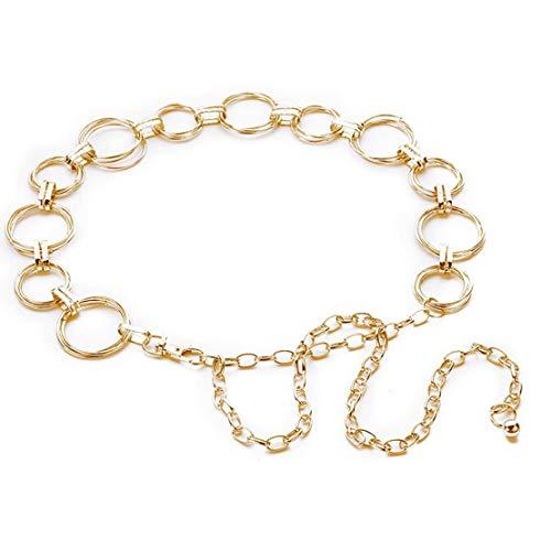 Catena Donne Metallo Dress Cintura Decorata Cintura Sottile Cinturino Abito Accessori (Golden)