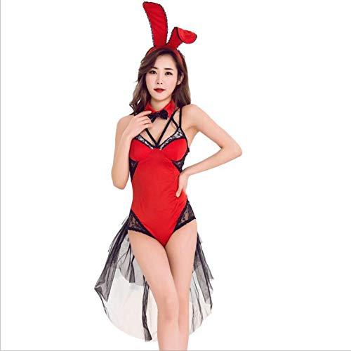 Girl Bunny Kostüm Halloween - PAOFU-Halloween Cosplay Kostüm für Damen,Sexy Bunny Girl-Kostüm für Erwachsene,Festliche Fancy Party Game Uniform,Rot,XL