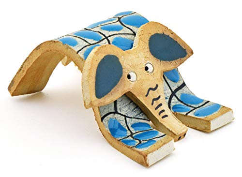 Elefante Figura Decorativa de Ceramica Hecha y Pintada a Mano con Decoracion Foc-Art 13 cm x 9 cm x 6 cm