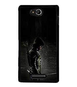 PrintVisa Man With Mask High Gloss Designer Back Case Cover for Sony Xperia C