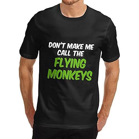 Men Cotton Novelty Funny Design Flying Monkeys T-Shirt Black