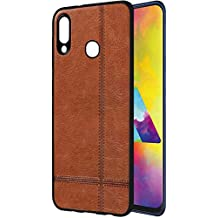 Amazon Brand - Solimo Leather Mobile Cover (Soft & Flexible Back case) for Samsung Galaxy M20 (Brown)