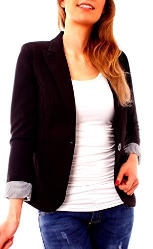 Damen Jersey Blazer Jacke Kurzblazer Baumwolle Sweatblazer Business gefüttert 3/4-Arm uni schwarz M - 36 -