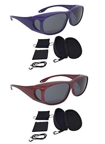 Sonnenüberbrille Überzieh Sonnenbrille SPAR EDITION 2 Stück lila rot polarisiert UV 400