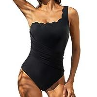 RUUHEE Women One Piece Tummy Control Leopard Printed Spaghetti Straps Swimsuits (L(US Size 12-14),Black-1)