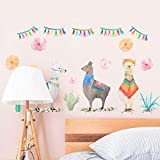 TeriliziCreative Lama Animaux Alpacas Indien Stickers Muraux pour Chambres d'enfants Pépinière Mur Décor Wall Art Décoration De La Maison Accessoires