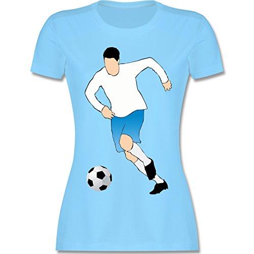 Fußball - Fußballspieler Ballbesitz Angriff Tor - tailliertes Premium T-Shirt mit Rundhalsausschnitt für Damen Hellblau