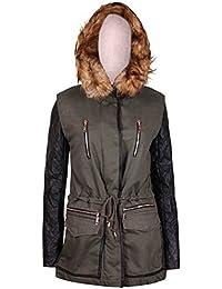 Womens Khaki Ladies Parka Lined Zip Pocket PU Wet Look Long Sleeve Fur Hood Jacket Coat