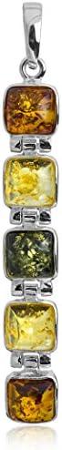 Multicolor Amber Sterling Silver Multistone Cubical Pendant