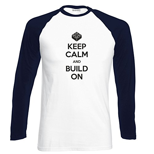 Brand88 - Keep Calm and Build On , Langarm Baseball T-Shirt Weiss & Dunkelblau