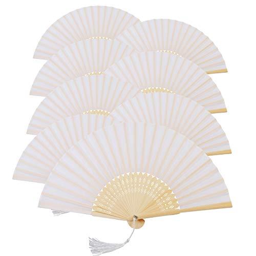 KAKOO 8er Weiß Seiden Fächer Bambus Handfächer Taschenfächer Stofffächer Faltbar Dekofächer mit Box Hochzeit Party Kirche Kinder Gastgeschenk (Passt Damen Kirche)
