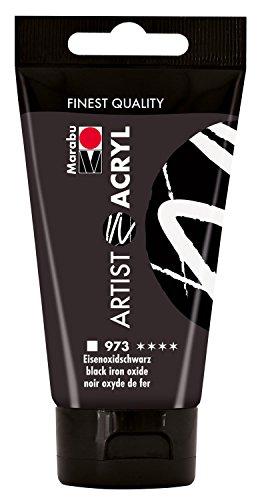 Marabu 12200002973 - Artist Acryl, feine Acrylfarbe in Künstlerqualität, auf Wasserbasis, pastose Konsistenz, hoch pigmentiert, sehr gute Brillanz und Deckkraft, 75 ml, eisenoxid schwarz