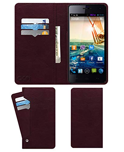 Acm Wallet Leather Flip Carry Case for Micromax Knight A350 Mobile Flap Card Holder Front & Back Cover Burgundy Red