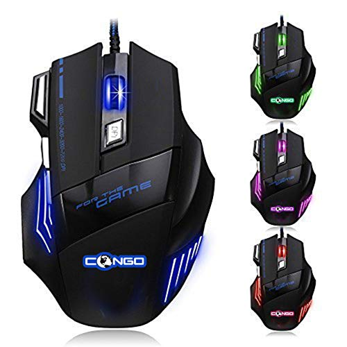 Congo USB Wired Gaming Mouse with 7200 DPI 7 Buttons LED Optical Mice for Gamer PC | MAC | Windows | Laptop