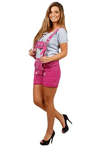Damen Trachten Lederhose kurz, super Passform Pink 34