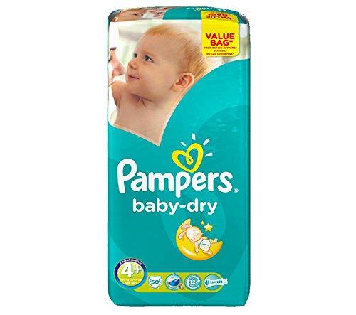PAMPERS Windeln Baby-Dry Größe 4 Maxi Plus (9 - 20 kg) - Packung mit 50 Windeln