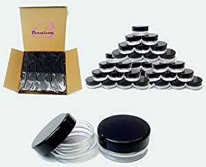 (25 Pcs) Beauticom 3G/3ML High Quality Round Clear Jars with Black Lids for Lotion