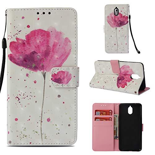 Cozy Hut Nokia 3.1/ Nokia 3 2018 Hülle Handyhülle TPU [Magnetverschluss] [Kartenfächern] [Standfunktion] [Premium Leder] Wallet case Schutzhülle für Nokia 3.1/ Nokia 3 2018 - Rosa Begonienblume - Cozy Pocket