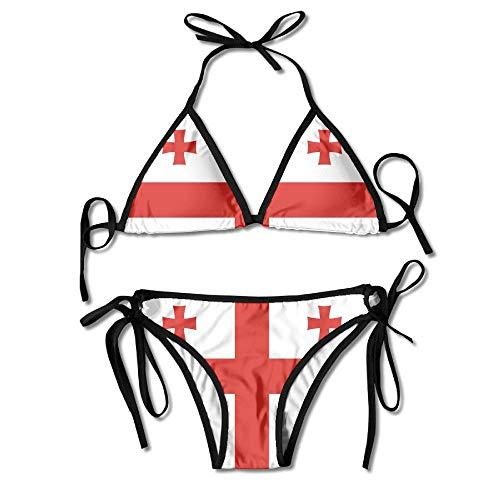 Georgia String (Fashion Women National Flag of Georgia Printing Sexy Two-Piece Bikini Set Beach Bathing Suit)
