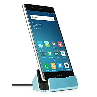 MyGadget Docking Station per USB C – Stazione di Ricarica con Cavo Caricatore (1m) – Dock Caricabatterie Type C p.e. Samsung Galaxy S8 S9 Plus, A5 – Blu