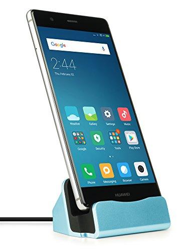 MyGadget Dockingstation Ladestation [USB C] für Android Smartphones - Halterung Dock für z.B. Samsung Galaxy S9 S8, Note 9 8, Huawei P20 Pro - Blau