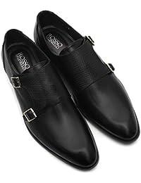 ROSSO BRUNELLO Mens Black Monk Strap MS-3727-BLACK