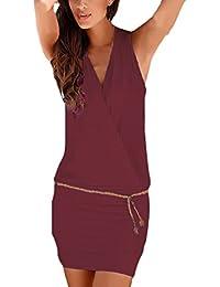Donna Vestiti Eleganti Estivi Corti V Scollo Senza Maniche Vestito Mare  Puro Colore Slim Casual Abito Mini Hawaiana… 2061d4d2297