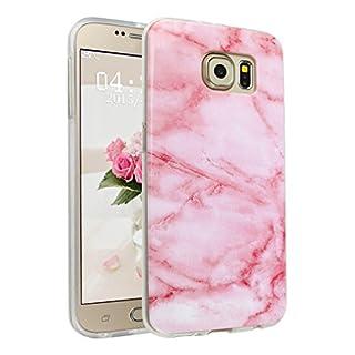 Handyhülle für Samsung Galaxy S6, Asnlove Ultra Dünn TPU Silikon Hülle Case Cover Marmor Motiv mit IMD Schale Backcover Tasche Schutzhülle für Samsung Galaxy S6, Rose und weiß