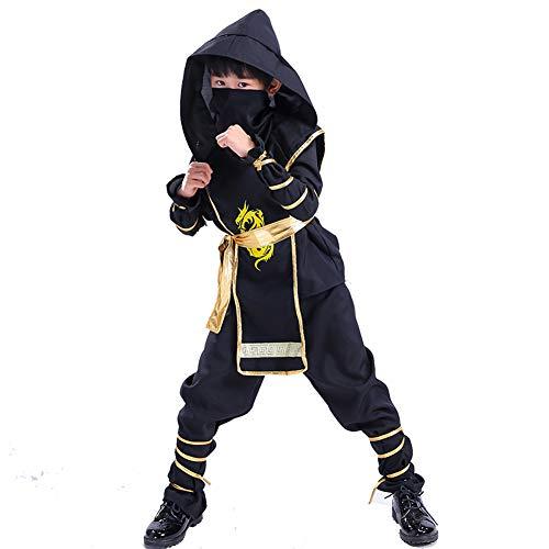 Kind Kit Kostüm Ninja - AEIN Halloween kinderkleidung, Halloween Jungen kostüm, Cosplay Stealth Ninja kostüm Samurai Maskerade kostüm, bequem und weich-130CM