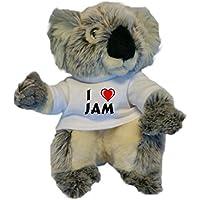 Koala personalizada de peluche (juguete) con Amo Jam en la camiseta (nombre de